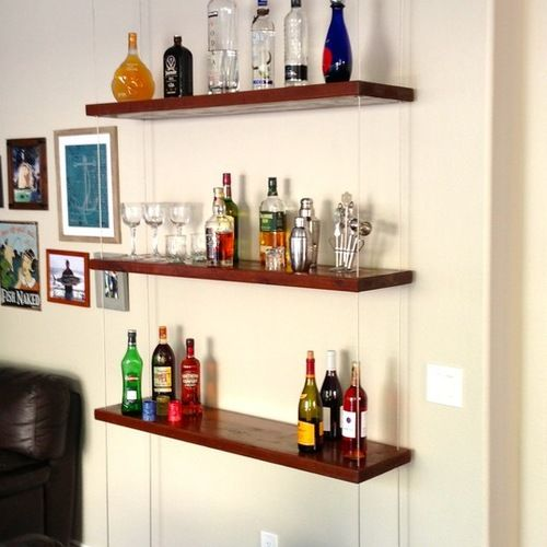 Suspended Shelves From Ceiling: This Suspended Bar/ Liquor Shelf