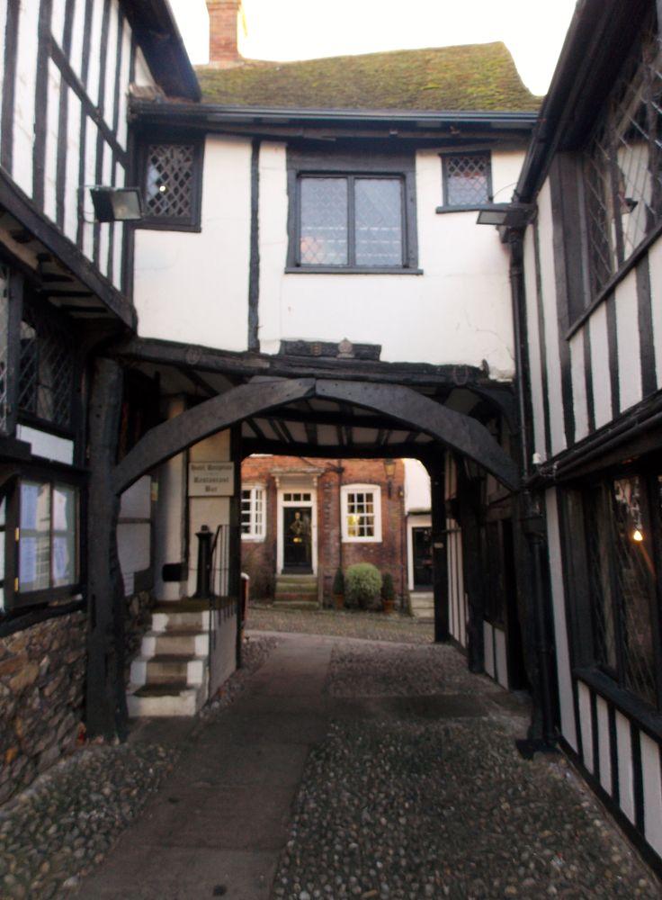 The Mermaid Inn, looking out to Mermaid Street, Rye, East Sussex, England, By B Lowe