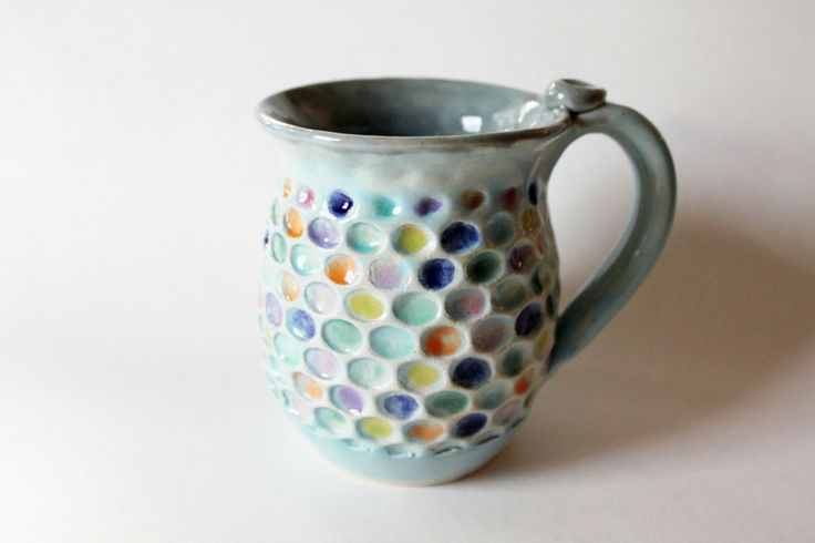 Made to order, Bubble Wrap Mug, Highly Textured Ceramic Mug, Honeycomb Mug, Holds 14 oz, Ready to Ship in 4 weeks. $28.00, via Etsy.