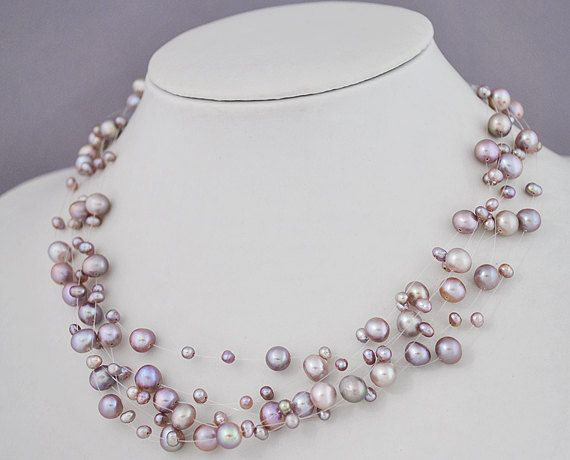 Floating Purple NecklacePurple Pearl Necklace Violet by EnyaPearls…