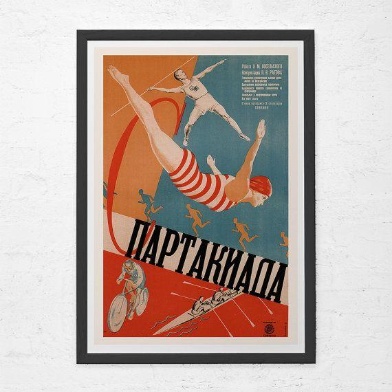 RUSSIAN AVANT GARDE Poster  - Russian Sports Poster - Soviet Constructivism Art, High Quality Reproduction, Movie Art Print