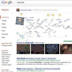 Type 'Zerg Rush' on Google Search and defend your Search Results against the Zerg Swarm!! XD #Google #StarCraft #EasterEgg