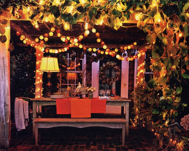 Thanksgiving lights outdoor decorations outdoor lighting ideas decorations thanksgivingcenterpiece backyard lit with colorful electric lighting a tip about outdoor when stringing lights on your patio thanksgiving aloadofball Images
