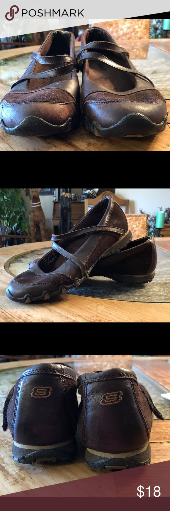 Skechers ladies brown leather & suede Mary Janes Skechers ladies brown suede & leather Mary Janes - used good condition Skechers Shoes