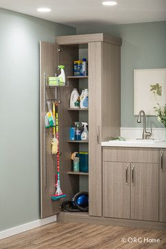 A mix of bottles, boxes, brushes, and brooms stay organized and hidden inside cabinets, presenting a clean face to the world. Steel tracks i...