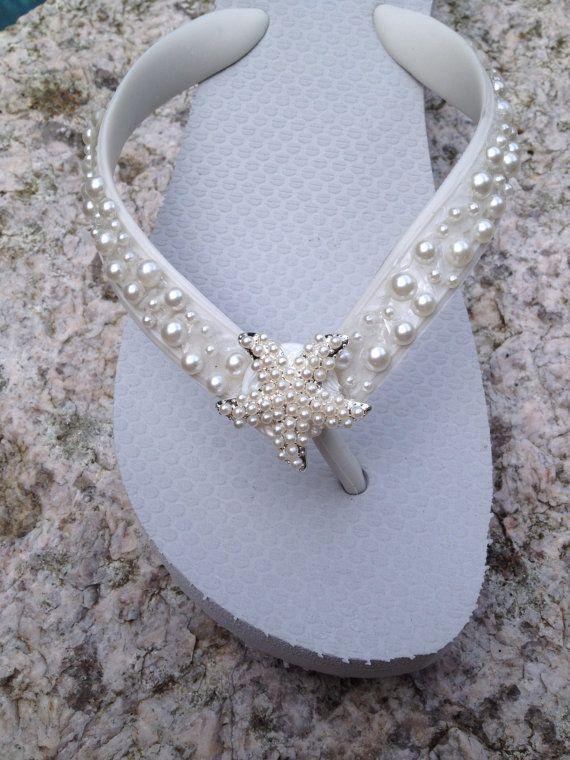 Boda Flip Flops/cuñas/sandalias para Bride/Bridesmaids.White