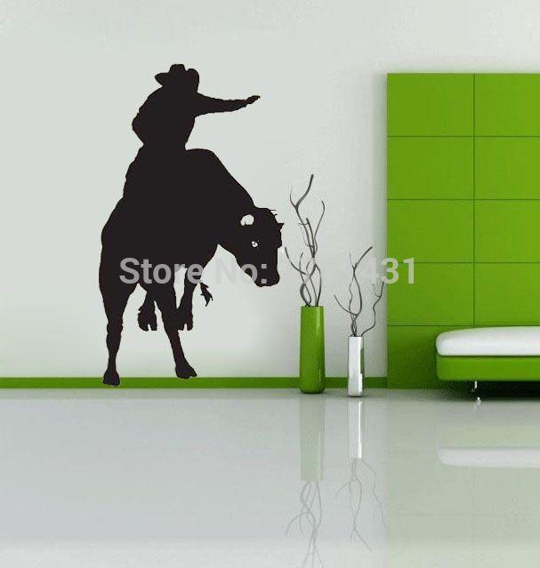 Bull Rider Ковбой Западная Детская Комната украшения стены наклейки виниловые наклейки домашнего декора гостиной настенные панно