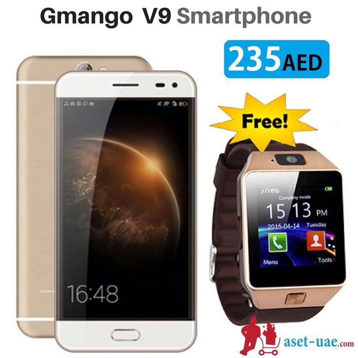 Buy 2 in 1,Gmango V9 4G 16GB 2GB RAM Dual Sim Smartphone Black & Get ASET S7 Smart Watch FREE