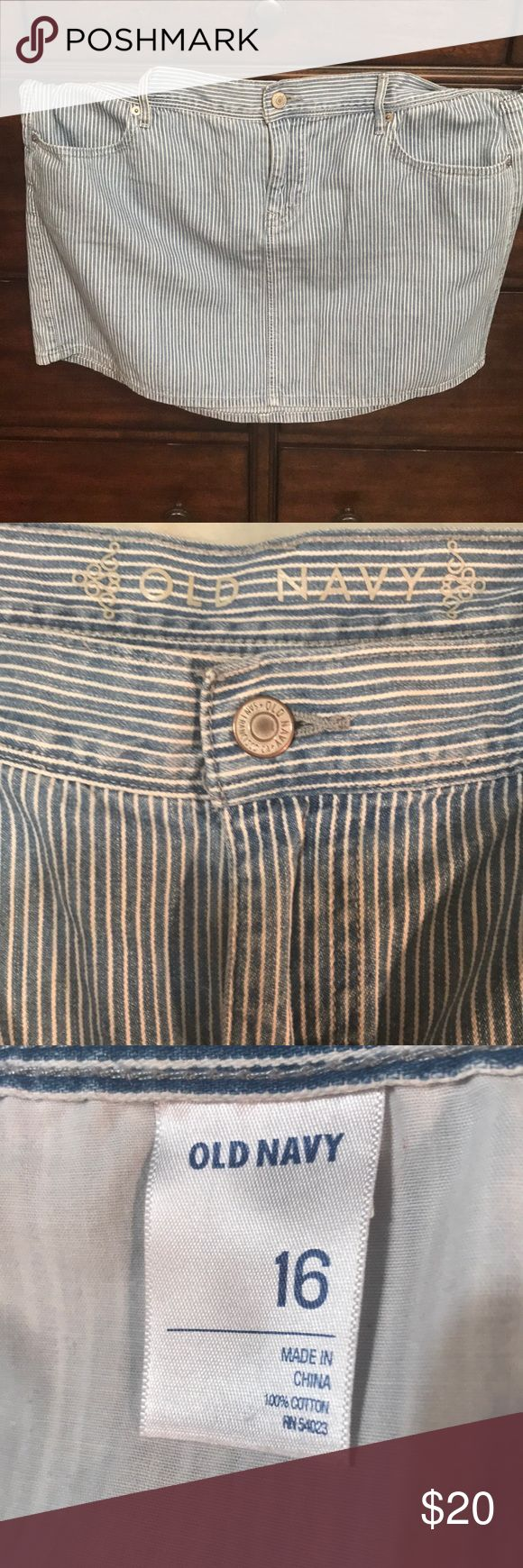 Old Navy Striped Skirt Old Navy • Size 16 • Blue & White Striped Denim   This skirt is in near perfect condition. It was only worn twice and for very short amounts of time. Old Navy Skirts Mini
