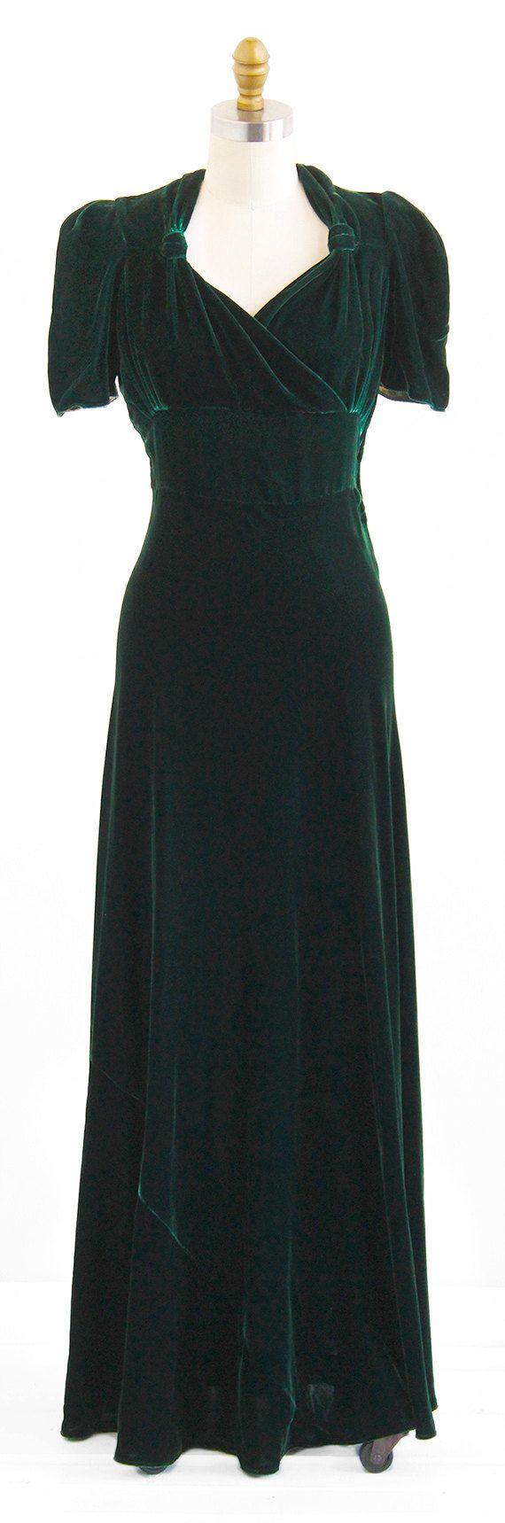/ 30s gown / Green Silk Velvet Art Deco Evening Gown