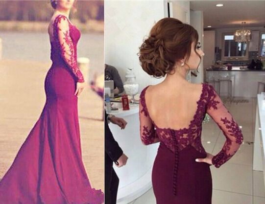 Elegant Burgundy Mermaid Lace Applique Prom Dresses 2016, Mermaid Burgundy Evening Gowns, Formal Gowns 2016,PD3900299