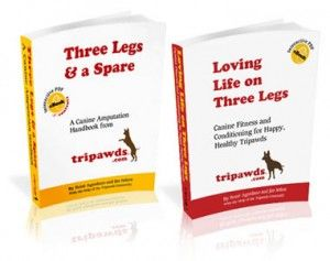 The first Tripawds Library Bonus Package includes two e-books, a complete resource with vital information to help amputee dogs recover safely and stay strong.