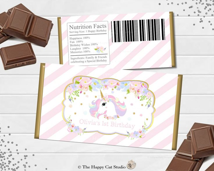 Printable Unicorn Chocolate Bar Wrappers, Birthday, Baby Shower, Christening, Personalized, Candy Bar Wrappers, Party Favor, Pink and Gold by TheHappyCatStudio on Etsy