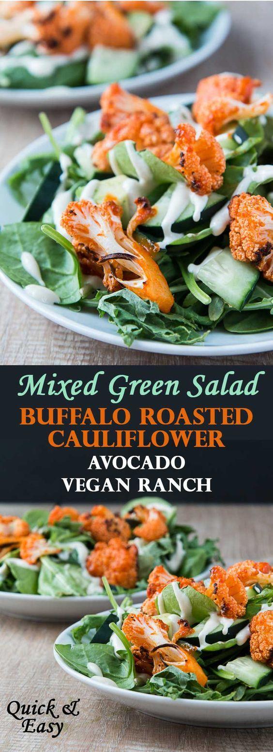 Mixed Green Salad with Buffalo Roasted Cauliflower, Avocado, & Cucumber Ranch Dressing (Vegan)