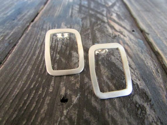Rectangle Studs Earrings Metalwork Post by BlueMargaritaMetal