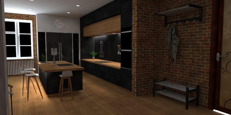 Moderná kuchyňa s tehlovou stenou