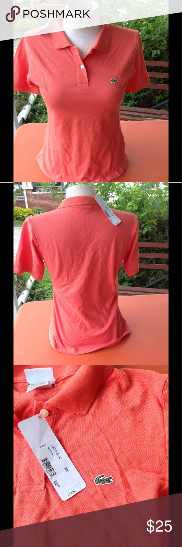 Brand new womans lacoste shirt. It is a size2, color is bright orange, brand new with a tag of 62.00, sale is final i do not accept returns. Lacoste Tops Tees - Short Sleeve