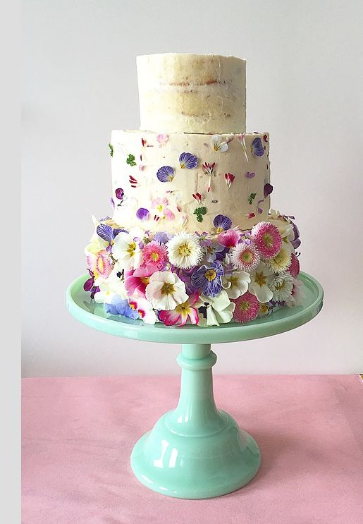 Spring Time Edible Flower Cake With Lovely Use Of Maddocksfarmorganics