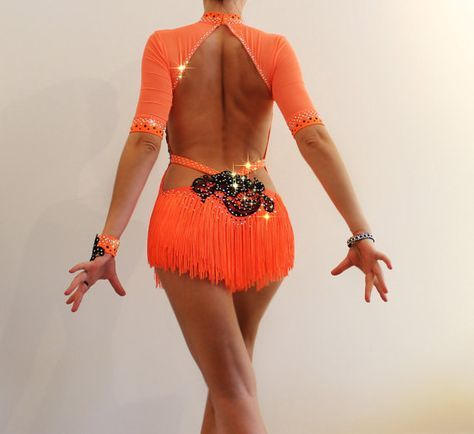 Latin Competition Ballroom Dress, Salsa dance costume, Orange neon  Black lace dress with fringe