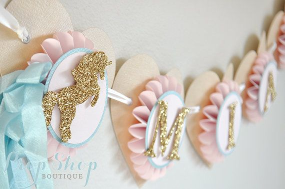Unicorn Kisses Birthday Banner, Special Occasion, name banner, nursery decor, photo prop, High chair banner