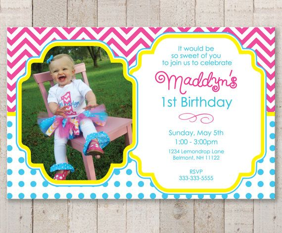Girls Birthday Invitations with Photo - Chevron Invitations - Chevron Birthday Decorations with Polkadots - Teal, Pink, Yellow - Set of 12