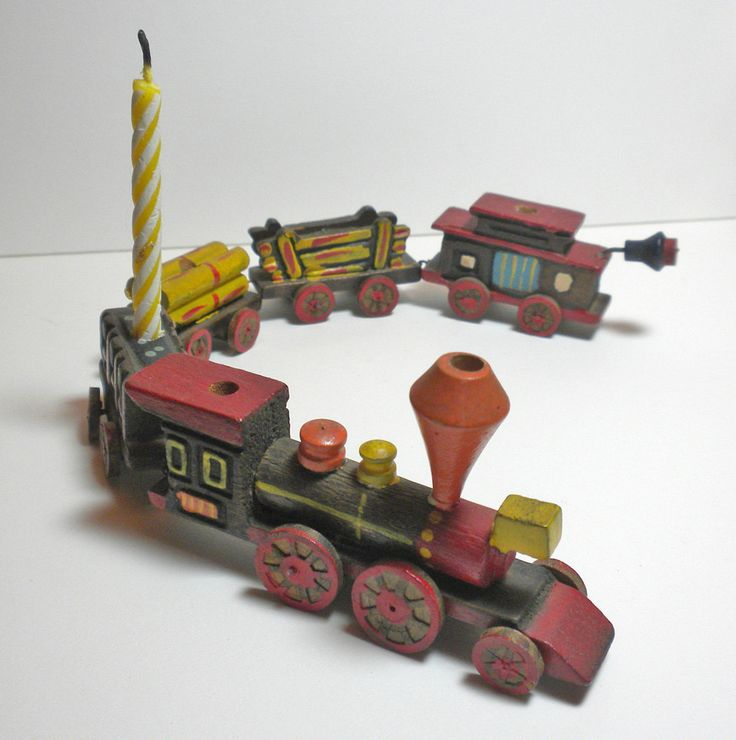 Vintage 1950s Wooden Toy Train Birthday Cake Candle Holder