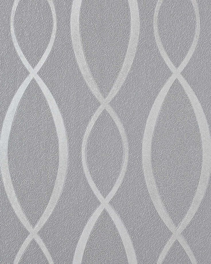 Design behangpapier vinyl abstract strepen EDEM 1018-16 motief golven patroon retro behang jaren 70 grijs zilvergrijs – Bild 1