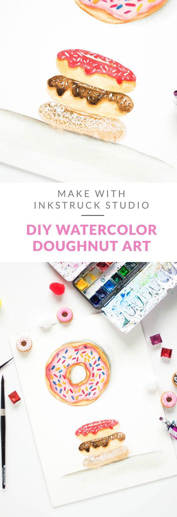 Learn the art of creating a DIY watercolor doughnut illustration in this tutorial - Inkstruck Studio