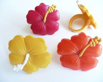 24 Hibiscus Cupcake Rings Luau Party Cake Toppers Decorations