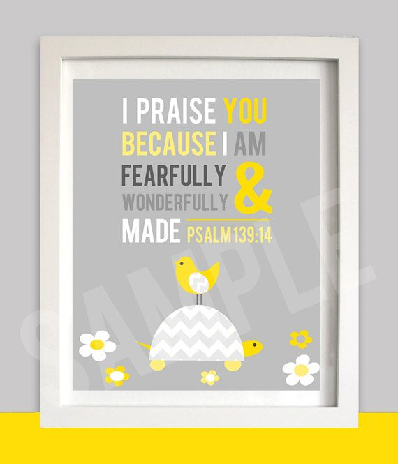 YELLOW GREY CHEVRON Nursery Wall Art - Bible Verse - Bird  Turtle - Religious - Printable - Psalm 139 - INSTant Download via Etsy