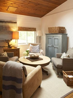 5 cottage decor looks we love - Slide 1 - Canadian Living....wonder if this is the color I should paint the cabinet in my family room...