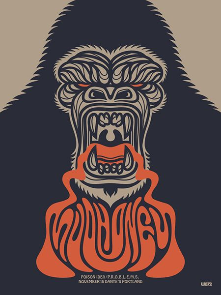 #Gigposter for Mudhoney, Poison Idea, and P.r.o.b.l.e.m.s by Weird Beard 72.