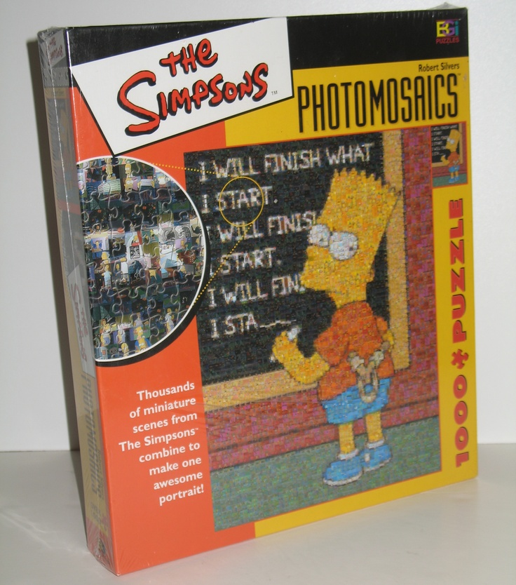 SOLD. Thousands of miniature scenes from The Simpsons combine to make one fantastic The Simpsons (Bart) Photomosaics jigsaw puzzle. #simpsons #jigsawpuzzle