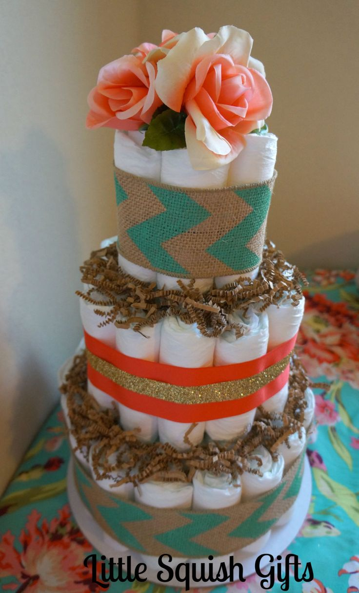Teal, Coral, and Gold Burlap diaper cake. Teal chevron burlap, coral and gold glitter with coral roses. Baby shower gift for baby girl. by LittleSquishGifts on Etsy