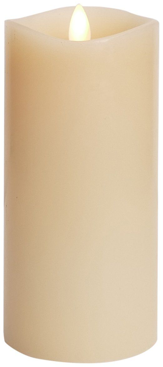 "Luminara Flameless Candle: 360 Degree Top, Vanilla Scented Moving Flame Candle with Timer (6"" Ivory)"