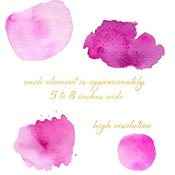 Pink Watercolor Splashes Clipart Watercolor Texture Backgrounds