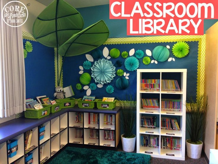 Core Inspiration Classroom Library with Ikea furniture and detailed labels.