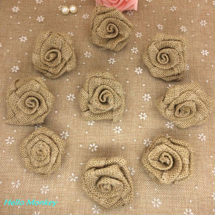 hessian flowers | Natural Jute Burlap Hessian Flower Rose Handmade Vintage Wedding ...