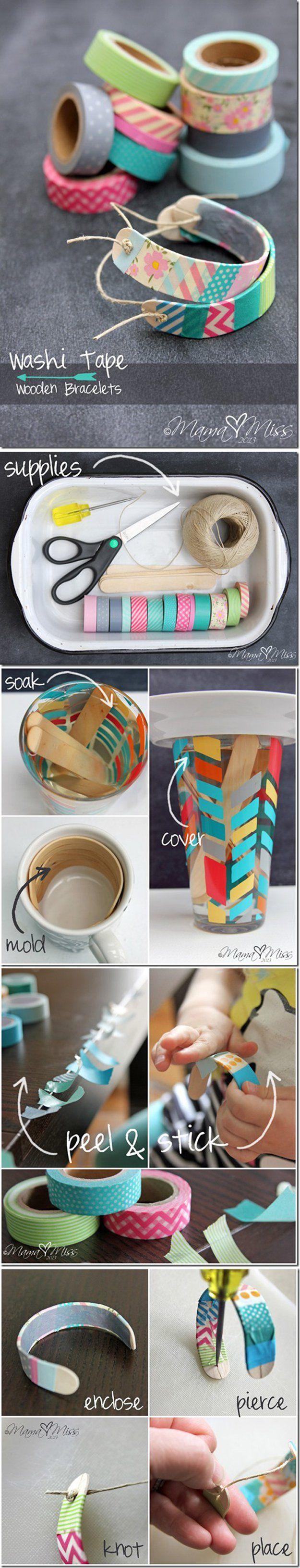 pulseras con palo de helado y washi tape