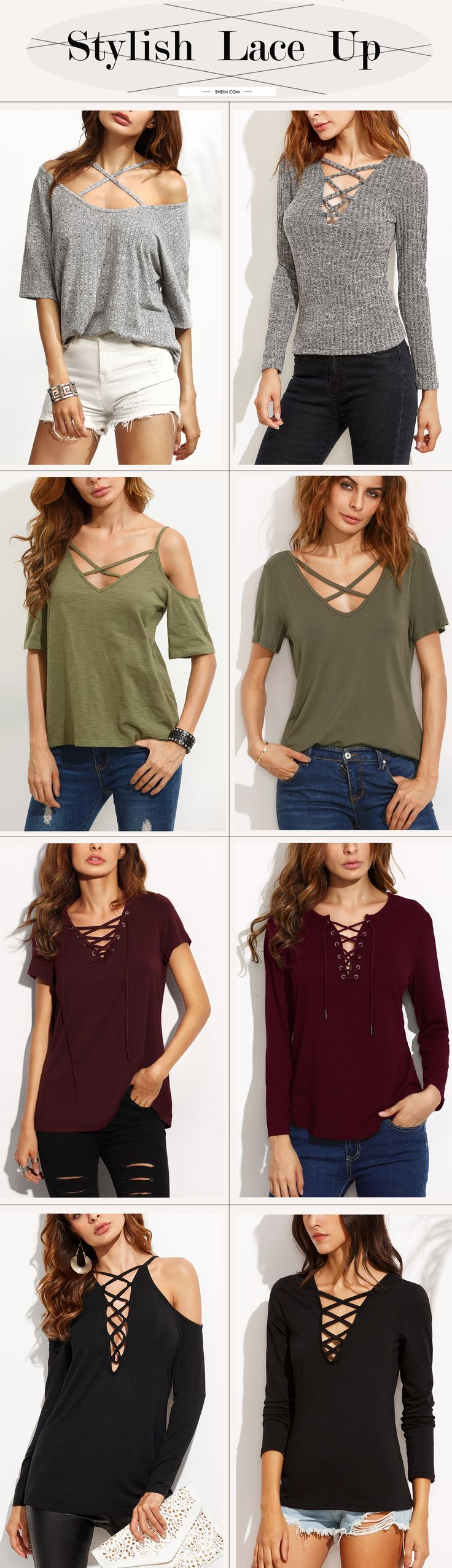 Hot lace up top collection for summer/fall. Stylish casual style.