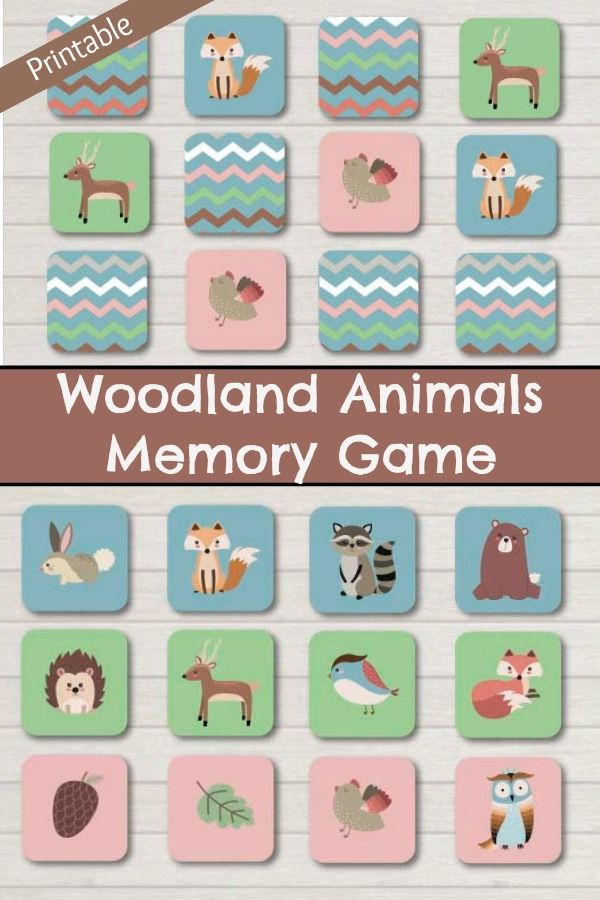 Woodland Animals Memory Game Printable #woodland #animals #printable #flashcards #toddler #preschool #preschoolers #prek #homeschool #homeschooling #classroom #affiliate