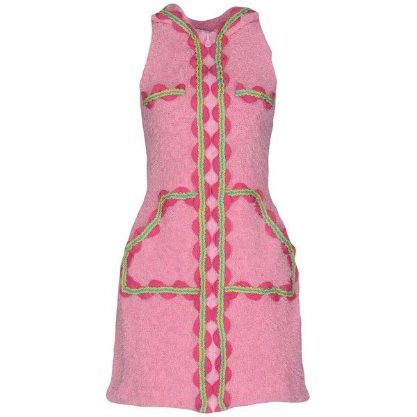 Moschino Couture Short Dress (440 LYD) ❤ liked on Polyvore featuring dresses, pink, tent dresses, cotton mini dress, cotton dress, sleeveless swing dress and pink swing dress