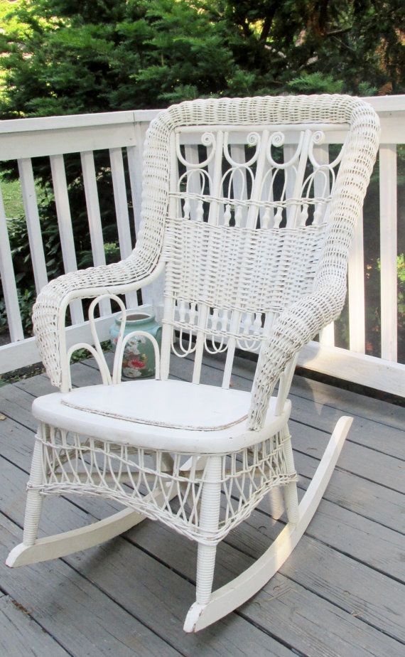 Awesome Antique Victorian white wicker rocking chair by DauphinTimeCapsule