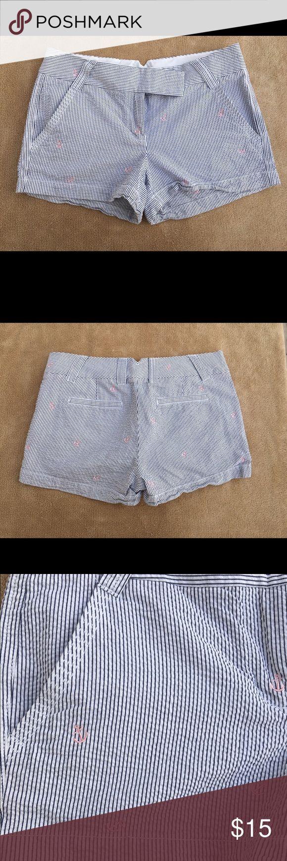 J Crew Blue Stripes With Pink Anchors Shorts J Crew Blue Stripes With Pink Anchors Shorts, size 4, preowned J. Crew Shorts