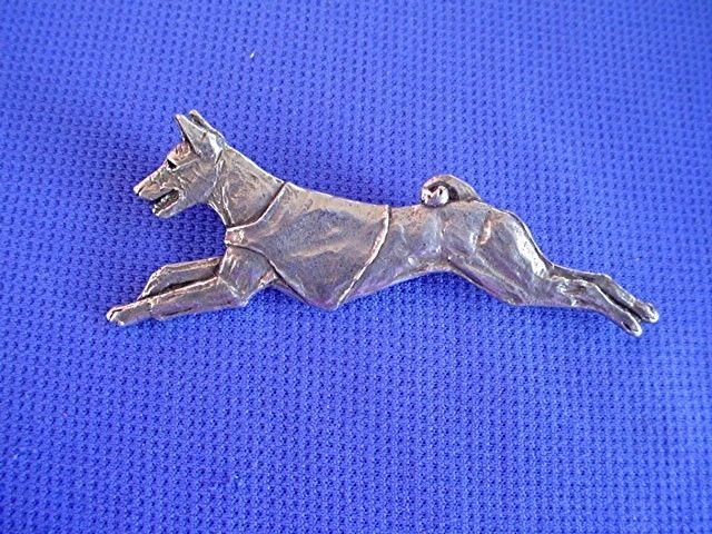 Basenji Pin FLAT OUT #40Da Hound Pewter Sighthound dog jewelry b Cindy A. Conter