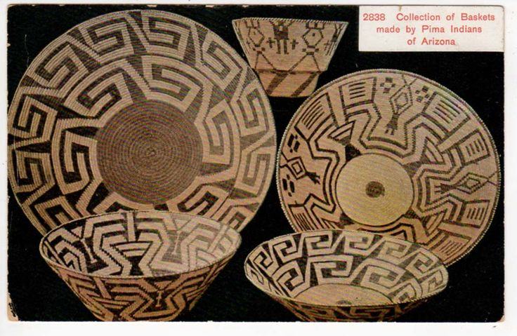 Postcard of a Collection of Baskets made by Pima Indians of Arizona
