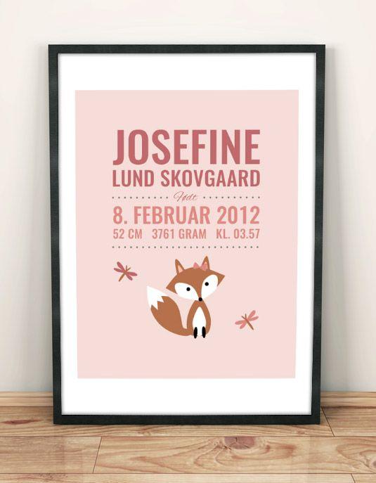 Birth poster with a cute fox | Fødselstavle med ræv
