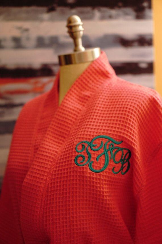 Personalized Robe Waffle Robe Monogramed Robe by DottieMDesigns
