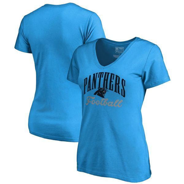 Carolina Panthers NFL Pro Line by Fanatics Branded Women's Victory Script V-Neck T-Shirt - Blue - $24.99