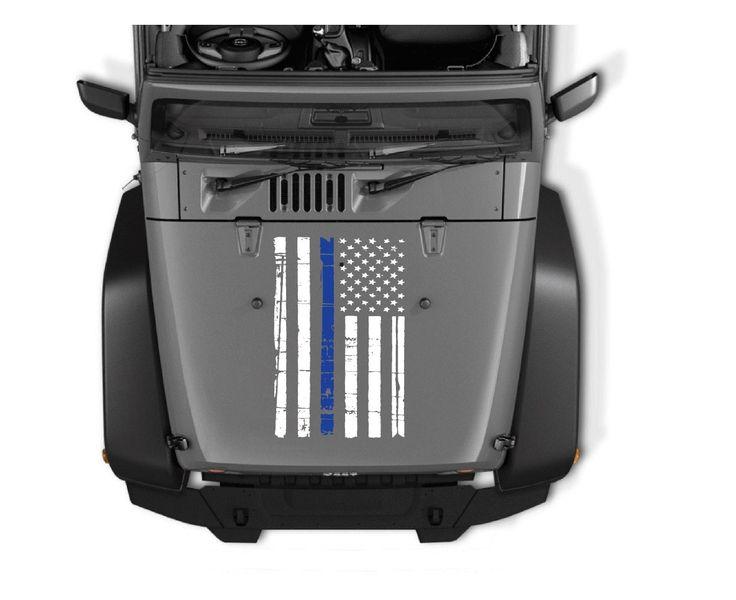 Thin Blue Line Jeep Hood Weathered Flag Vinyl Decal